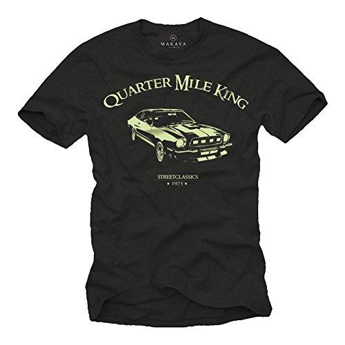 Ford Mustang T-Shirt für Herren schwarz Quarter Mile King Logo pastellgrün Größe XL