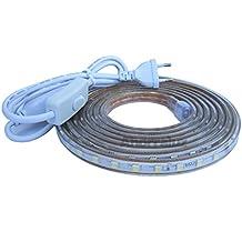 Tira Led de 220v 5050 IMPERMEABLE Blanco Frío o Cálido Waterproof IP67 strip (Blanco Frío, 5 Metros + Enchufe)