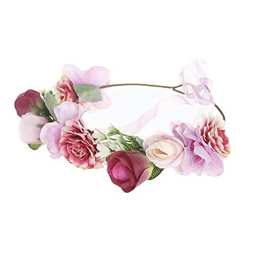 Lazzboy Garland Frauen handgefertigte Blumen Haarband Krone Hochzeit Kranz Braut Kopfschmuck(M,Rosa)