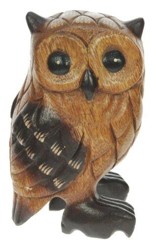 Figura del buho - ornamento de la decoracion del hogar - escultura madera tallada - tamano del animal -tamaño 13cm