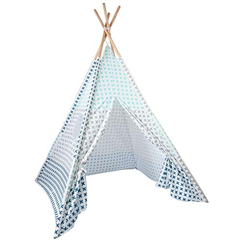 Skojig Spielzelt mit Tasche - Größe ca. 160x120x120cm Indianerzelt für Kinderzimmer oder im Garten | Kinderzelt Tipi Zelt für Mädchen & Jungs