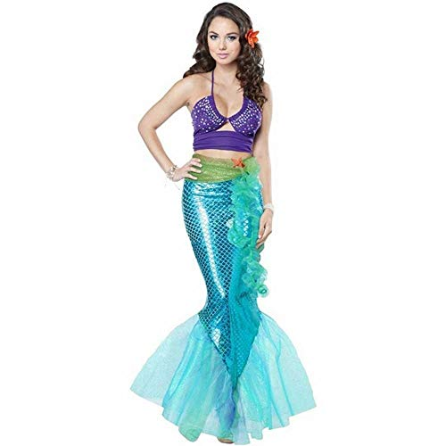 CN Halloween Cosplay Mermaid Cosplay Spiel Uniform Paty Bar Party Fisch Mann Kostüm,Hellblau,XL
