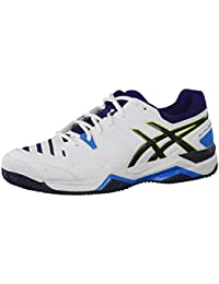Asics Gel-Challenger 10Clay Zapatillas de tenis para hombre, hombre, E505y-0105, blanco / negro / azul, 10.5 US - 44.5 EU