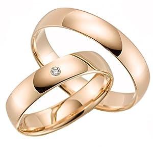 2 x 375 Trauringe ECHT GOLD Eheringe schlichte Trauringe LM.05 Trauringe Paarpreis vom Juweßgold Gold Verlobunsringe Wedding Rings Trouwringen lier Rosegold Gelbgold Wei (8 Karat (333) Rotgold)