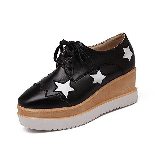 AllhqFashion Damen Gemischte Farbe Pu Quadratisch Zehe Schnüren Pumps Schuhe Schwarz