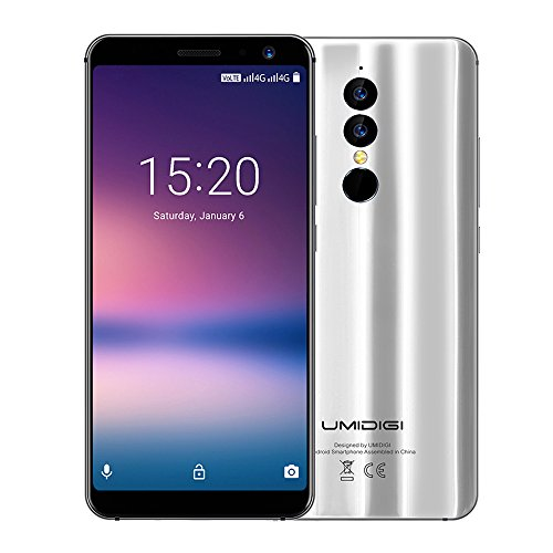 UMIDIGI A1 Pro Moviles libre barato Dual 4G, 5.5 pulgadas HD (pantalla completa 18: 9) 3150mAh- Face ID-1.5GHz Octa Core -3GB RAM + 16GB ROM, 13.0MP + 5.0MP Dual Rear Cameras Type-C, Andriod 8.1 (Silver)