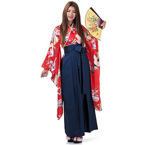 Japan Damen Geisha Samurai Asia Kostüm Kimono Bluse + Hakama Hosenrock (Rot & (Geisha Kostüm D'halloween)