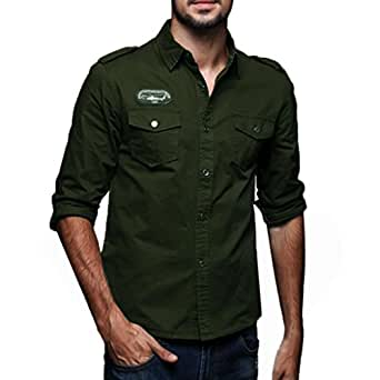 8d11936a179 2018 Mens Fashion Autumn Casual Solid Color Military Cargo Slim Button Long  Sleeve Dress Shirt Top
