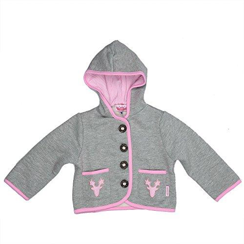Eisenherz Baby Mädchen Kapuzenjacke Sweatjacke mit Geweih, in grau und rosa - fescher Trachtenlook in Größe 62/68