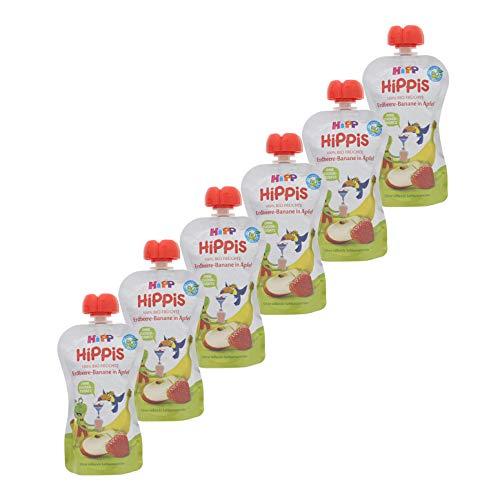 HiPP HiPPiS Quetschbeutel, Erdbeere-Banane in Apfel, 100% Bio-Früchte ohne Zuckerzusatz, 6 x 100 g Beutel -
