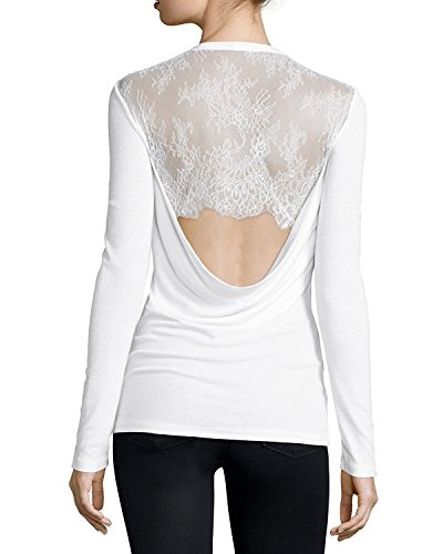 BCBGMAXAZRIA Kaylen Cowl Back with Lace (X-small, White) (Cowl Lace)