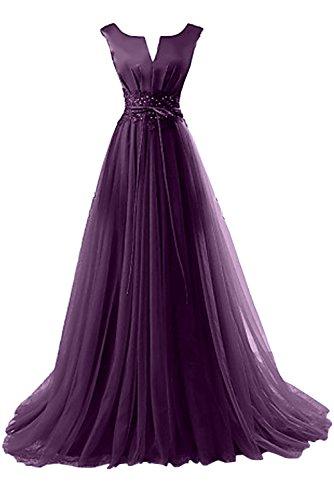 Gorgeous Bride Elegant Brautmutterkleider ALinie Satin Tüll Spitze Schleppe Abendkleider  Lang Festkleider Ballkleider Grape