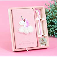 EUGU Cute Pink Unicorn Stationery Diary Notebook and Gel Pens Set,Unicorn Gifts for Girls