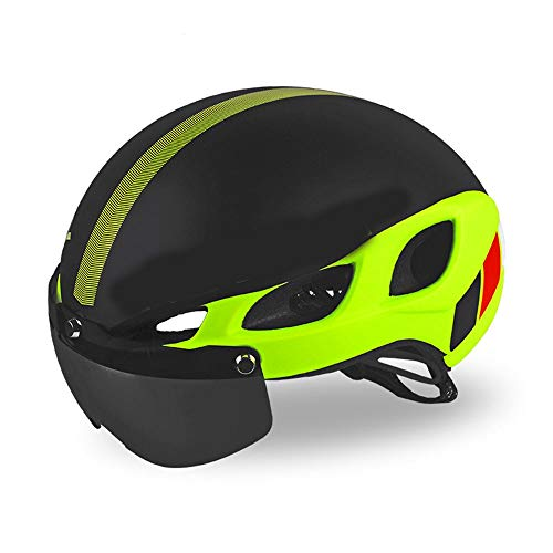 KUVV Perfecto Mountain Road Fahrrad Fahrrad Männer und Frauen Reithelm Magnetische Brille Brille (Color : Green, Size : L)