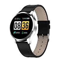 ANMY Fitness Tracker Round Screen Heart Rate Blood Monitor Pressure Sleep Female Physiological Cycle alarm Fitness Watch,Silver(leatherstrap)