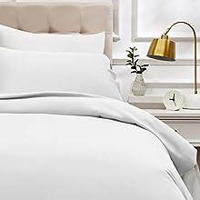 AmazonBasics - Duvet cover set, 400 thread sateen cotton, 135 x 200 cm / 50 x 80 cm x 1, White