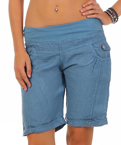 malito Damen Bermuda aus Leinen | lässige kurze Hose | Shorts für den Strand | Pants - Hotpants 3001 (blau, XXL)