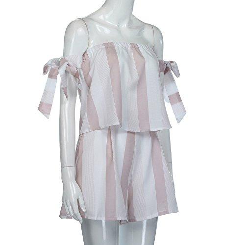 Longra Donna Spalla della spalla due pezzi abbigliamento Rosa
