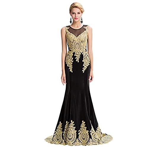 Black and Gold Evening Dresses UK