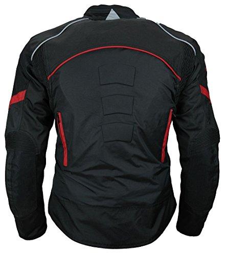 Heyberry Damen Motorradjacke Kurz Textil Schwarz Rot Gr. M / 38 - 3
