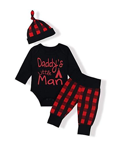 Ttkgyoe Babys erste Weihnachten Kleidung Junge Mädchen Langarm niedlichen Strampler Onesies Karierten Hosen mit Hut Outfit Set (Baby Jungen Kleidung 0-3 Monate)