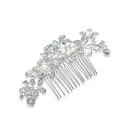 PluedingHaarspange Braut Hochzeit Blumen Schmucksteine Kristall Perlen Silber