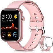 BANLVS Smartwatch, Reloj Inteligente Mujer Hombre con Correa Repuesta, Smartwatch Impermeable IP67 con Monitor
