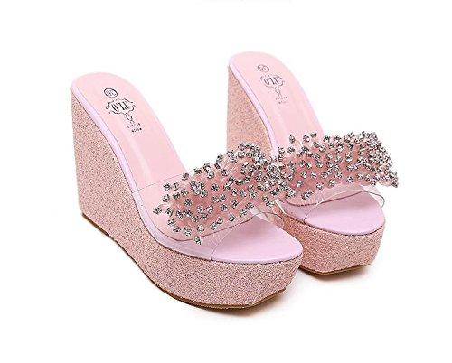 LvYuan Frauen-Sommer-Hausschuhe / Komfort-beiläufige Art und Weise / Wedge-Ferse / dicke untere / wasserdichte Plattform / hohe Ferse / Rhinestones / Sandelholze Pink
