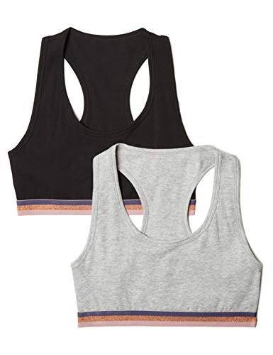 Iris & Lilly Sporty Cotton Top court, Multicolore (Black/Melange), 85B (Taille fabricant: Small), Lot de 2