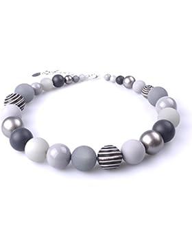 """Halskette """"Thabea"""", elegante Materialmixkette aus Polaris- und verschiedenen Acrylperlen, verschiedene Grautöne..."""