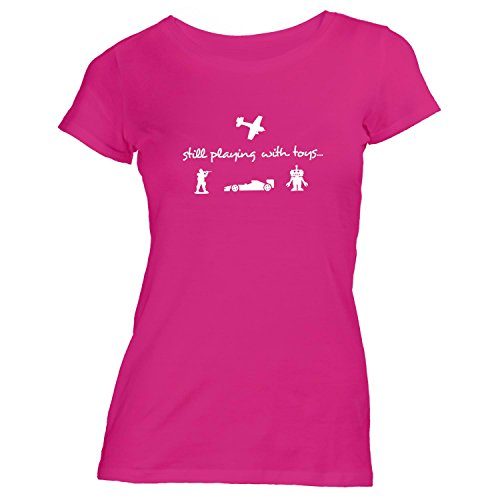 Damen T-Shirt - Still playing with toys... - Spielzeug Flugzeug Roboter Auto Army Pink
