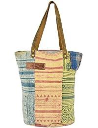 Priti Vintage Design Handbag Tote Bag Travel Bag In Washed Canvas Leather - B0791G5YKM