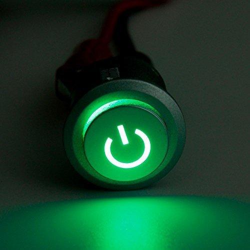 Ungfu Mall 2pcs 12V 22mm LED Power Autobloccante Pulsante On/Off Interruttore Verde