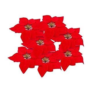 HMILYDYK – 20 Adornos para árbol de Navidad, 20,3 cm, Flores de Pascua Rojas, decoración de Festivales, Flores Artificiales