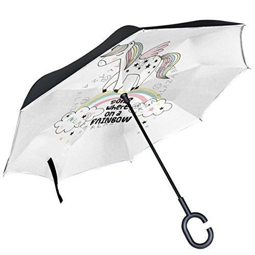 ALAZA Einhorn Walking On The Rainbow seitenverkehrt Regenschirm Double Layer Winddichte Rückseite Faltbarer Regenschirm für Auto mit C-förmigem Henkel -