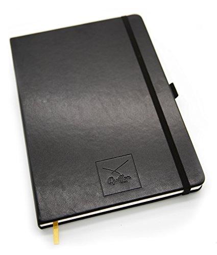 Quillon Notizbuch Kariert mit Lesezeichen, Hell-Cremefarben, Größe Large ca. 17x25 cm , Stifthalter, 192 Seiten, Leder Cover, Schwarz,