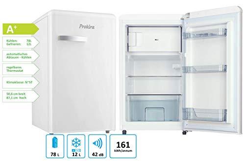 ProKIRA PR95 WE Standkühlschrank mit **** Gefrierfach/Retro PopArt/Höhe 88 cm/A+ / 92 l