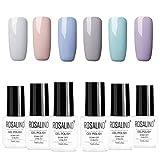 ROSALIND Maniküre-Lack-Kit Serie grau 6 Farben, Satz Nagellack absorbierendes Gel UV LED 7 ml
