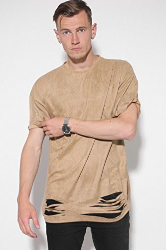 Sixth June Herren Oberteile / T-Shirt Destroyed Overside Suede Beige