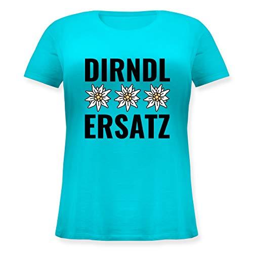 Oktoberfest Damen - Dirndl-Ersatz mit 3 Edelweiß - L (48) - Hellblau - JHK601 - Lockeres Damen-Shirt in großen Größen mit Rundhalsausschnitt -
