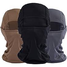 ForNeat Máscara de esquí de primera calidad de la mascarilla del calentador del cuello de la motocicleta o táctico capilla del pasamontañas (Negro 02, BLCOOL)