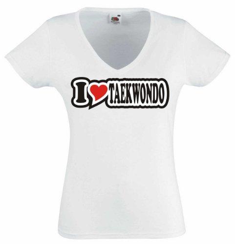 T-Shirt Damen - I Love Heart - V-Ausschnitt I LOVE TAEKWONDO Weiß