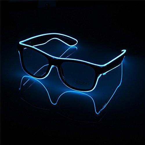 Outtybrave LED Glow Glasses Blinking EL Wire Glasses Luminous Bar Party Deko 153 * 50 * 143mm blau