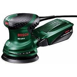 Bosch PEX 220 A - Lijadora excéntrica (220 W) + Caperuza de lana de oveja para lijadora excéntrica, 125 mm