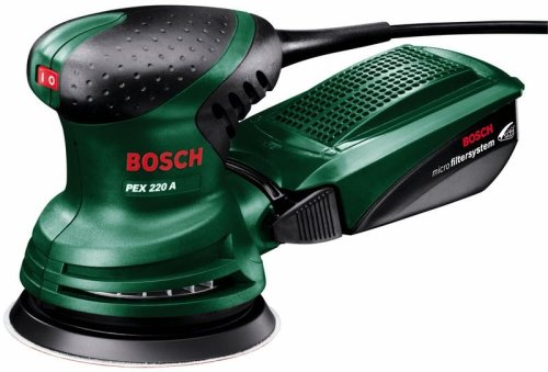 Bosch Ponceuse excentrique'Easy' PEX 220 A avec Microfiltre, plateau de ponçage et une feuille...