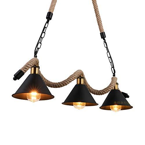Edison E27 Loft Corde De Chanvre Droplight Industriel Luminaire Suspendu Pour Salle À Manger Lampe Suspendue Maison 3 Lumières Fer Forgé Retro Noir Lustre Peint