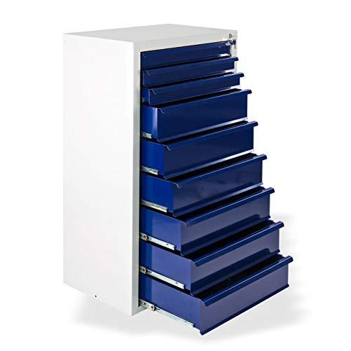 Werkstatt-Schubladenschrank mit 9 Schubladen, BxTxH: 700x435x1200 mm, RAL 7035 Lichtgrau/RAL 5003...