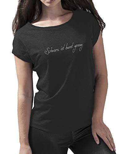 Statement T-Shirt Schwarz ist bunt genug Damen | schwarzes Fun Sommer Tshirt für Frauen Wide Neck 40-42 (Hersteller L)