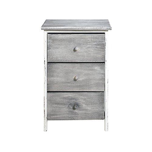 Rebecca srl cassettiera comodino mobile cucina 3 cassetti natural legno paulownia grigio bianco vintage camera bagno (cod. re4302)