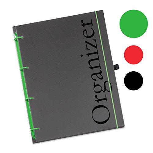 6 Refill Ringbuch-kalender (Schaar-Design flexiNotes® ORGANIZER A5 nachfüllbar, Buchkalender 2018, 1 Woche auf 2 Seiten als Planer Typ: A5, ,,Organizer', Farbe:Apfelgrün, Papier:Organizer Basic - Wochenkalender - Ring L)